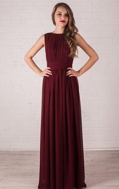20 Stunning Marsala Bridesmaid Dress Ideas For Fall Weddings 6 Flowy Burgundy Maxi