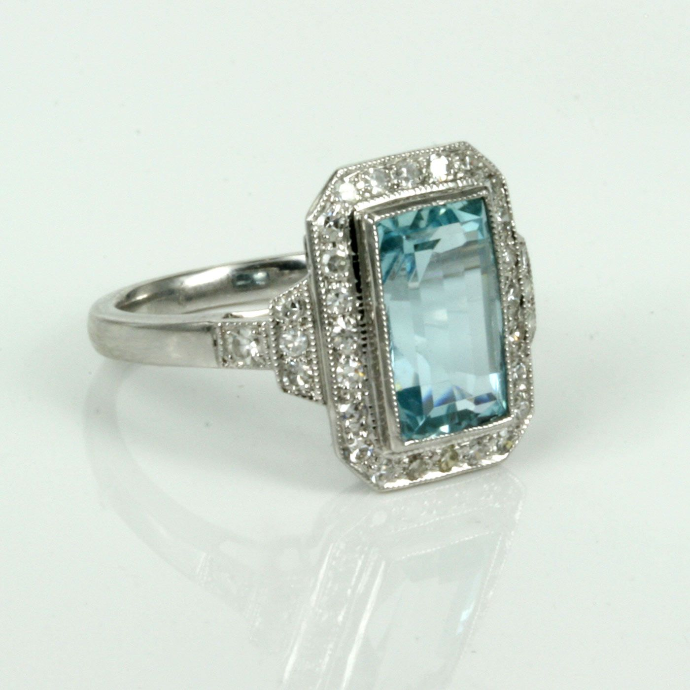 Antique Aquamarine Rings Uk Pin Aquamarine And Diamond