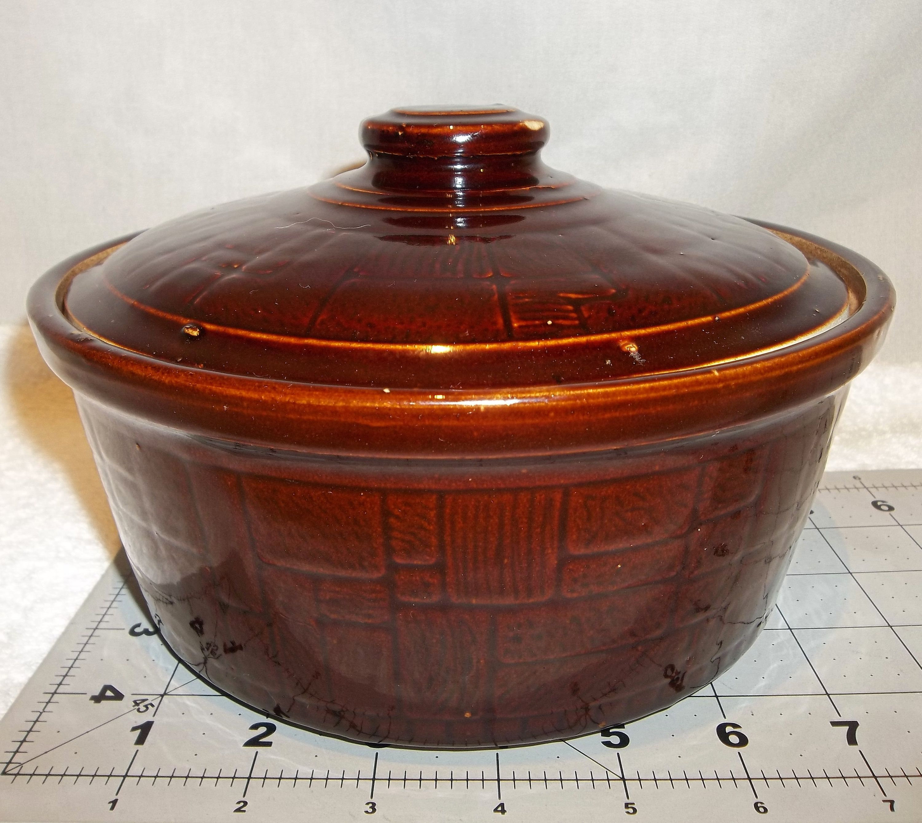 Antique Mccoy Pottery Brown Basket Weave Pattern Casserole Dish Baked Bean Pot With Lid Glazed Baking Dish Dutch Oven Ke Baked Dishes Bean Pot Casserole Dishes