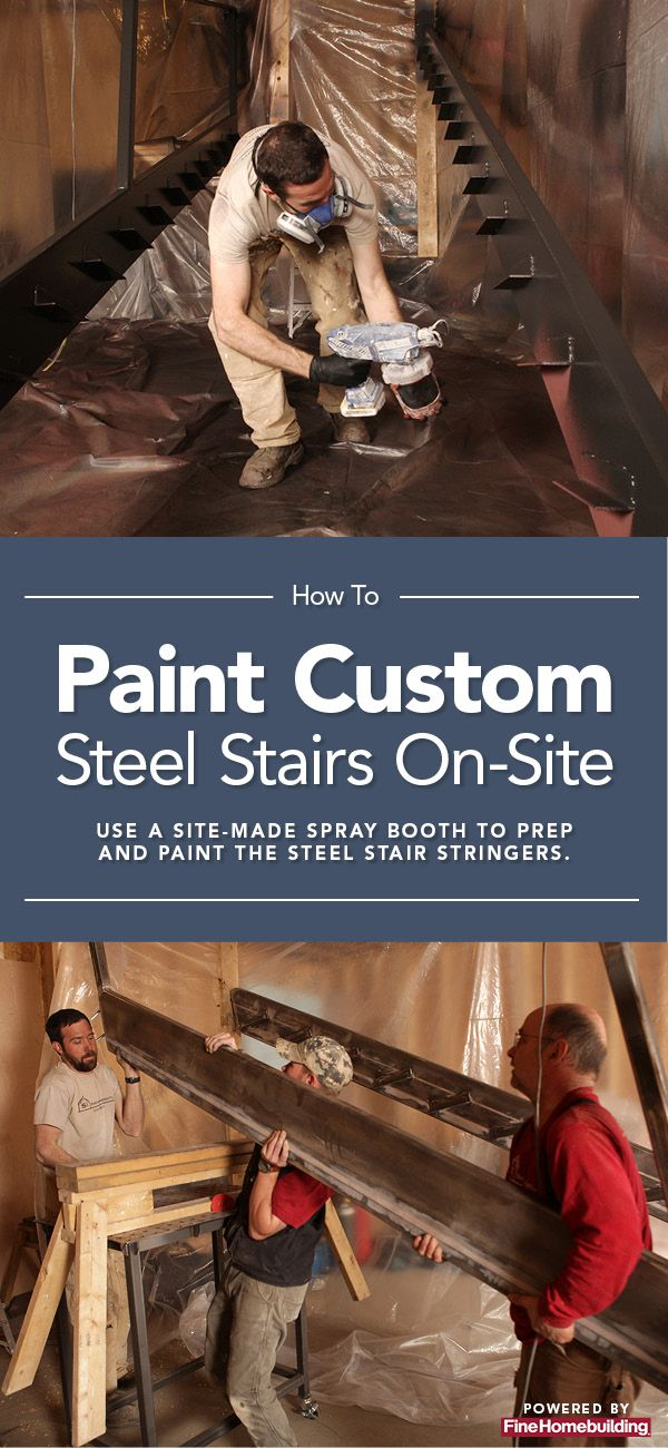 How to Paint a Custom Steel Staircase On-Site  #spraypainting