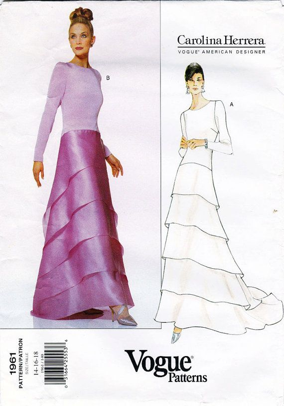 1990s VOGUE Pattern 1961 Designer Wedding Bridal and Evening Gown ...
