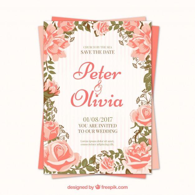Pretty roses wedding invitation free vector my freepik things pretty roses wedding invitation free vector stopboris Images