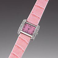 Silver-Toned Watch with Pink Faux Crocodile Leather Band by Lenox  #iheartlenox @Lenox