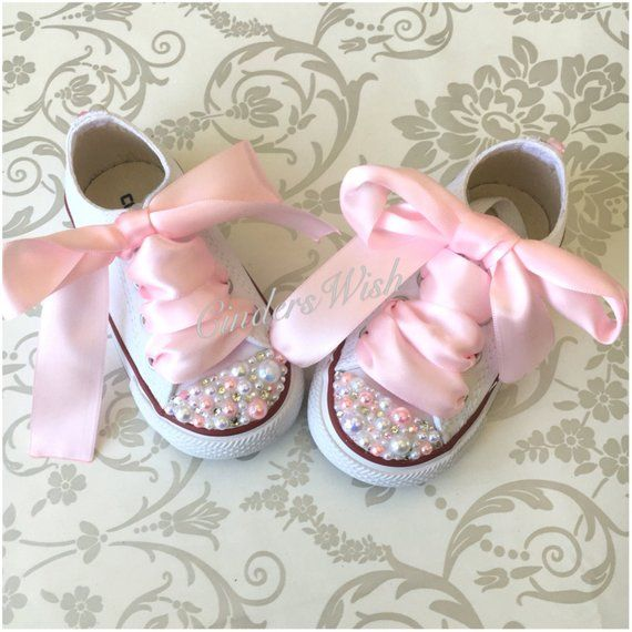 01a29f2b1ba5e8 Infant Pearl Converse   kids converse   white converse  christening    unique sneakers   pearl chucks   bling converse  pink pearls