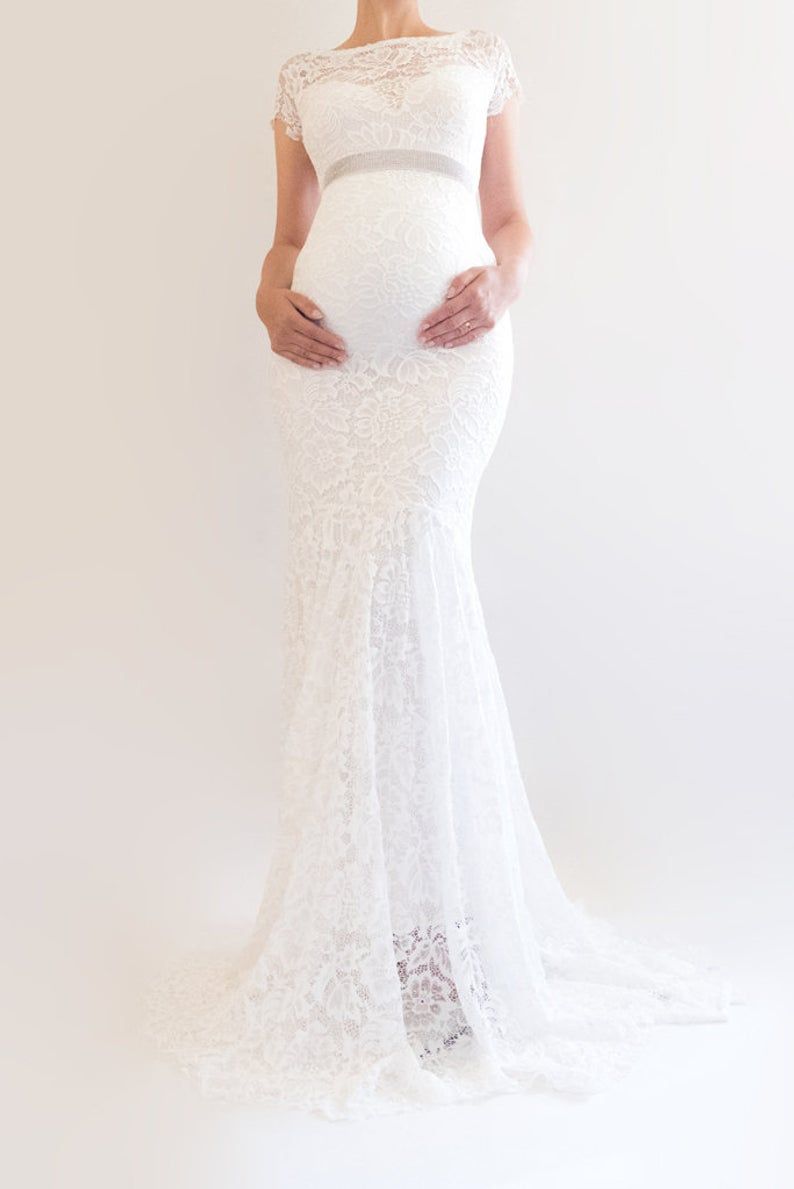 Briar Lace Maternity Wedding Dress Boho Bridal Gown Modest Maternity Bridal Gowns Modest Bridal Gowns Lace Maternity Dress