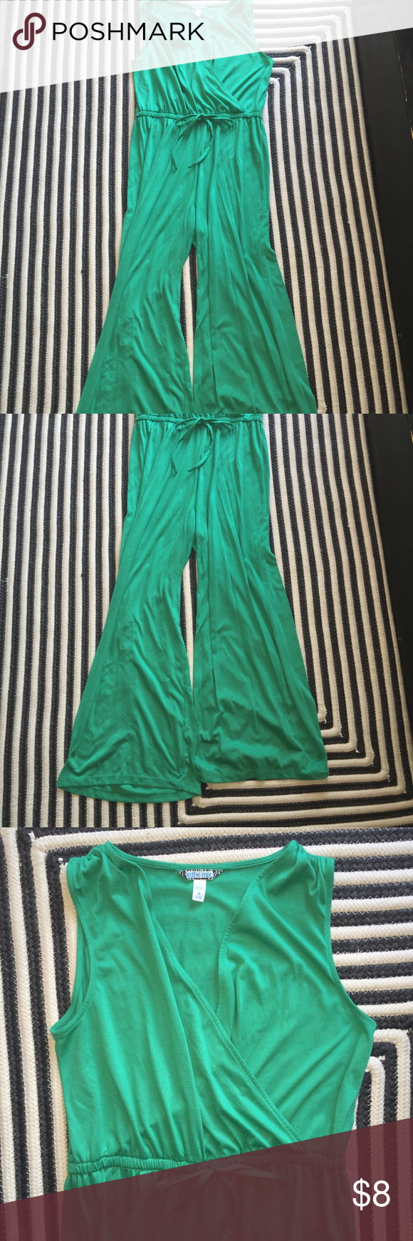 Green cotton knit jumpsuit Great color...very comfortable ...good condition Pants Jumpsuits & Rompers