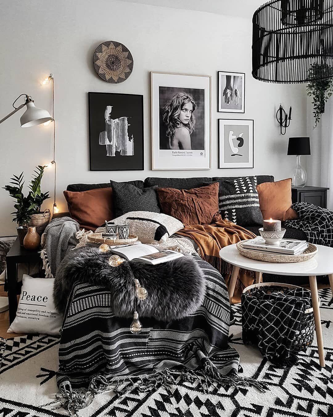 Uniqfind On Instagram The Definition Of Cozy Via Mk Boho Makeituniq Modern Boho Living Room Boho Living Room Red Furniture Living Room