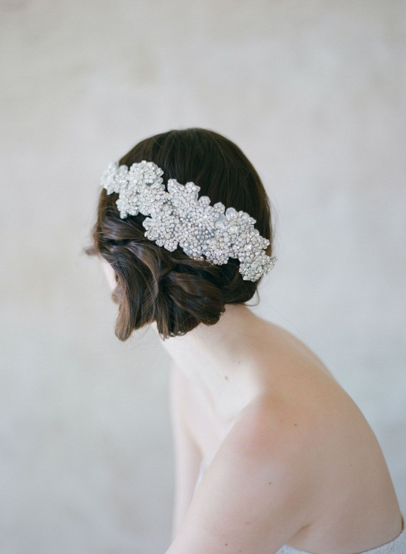 Bridal crystal hair comb large Crystal texture flower by myrakim | Z ...