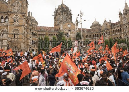 Mumbai / India 9 August 2017 Maratha Kranti Morcha marching in Mumbai demanding reservations for the Maratha community members in jobs and educational institutions at  Mumbai Maharashtra India