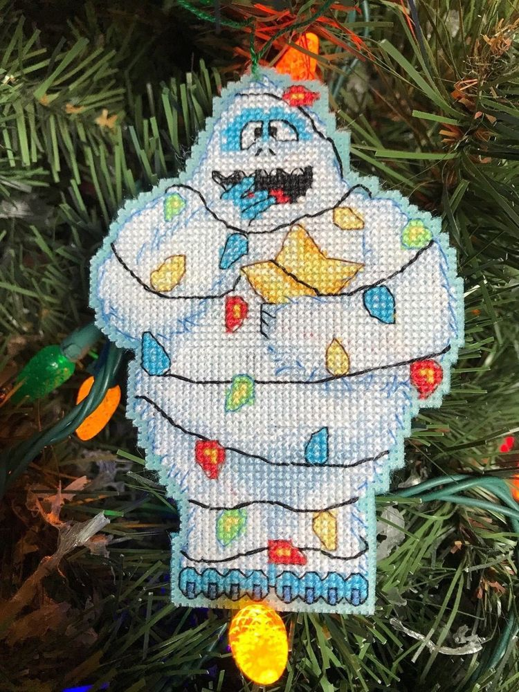 Handmade Cross Stitch Christmas Ornament-Completed-Abominable