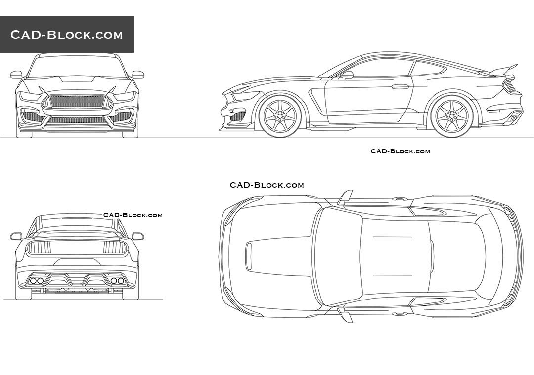 Ford mustang 2015 cad block autocad pinterest ford for Cad car plan