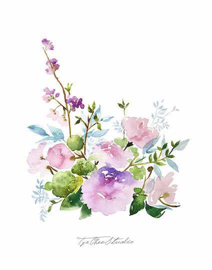 Pastel Pink Purple Peony Watercolor Painting Peony Flower
