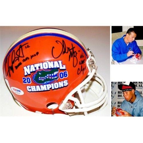 63fcea56a1f01 Real Deal Memorabilia LeakMeyerMH-5-PSA Chris Leak   Urban Meyer  Signed-Autographed Florida Gators UF Mini Helmet with 2006 Champs  Inscription   Logo - PSA ...
