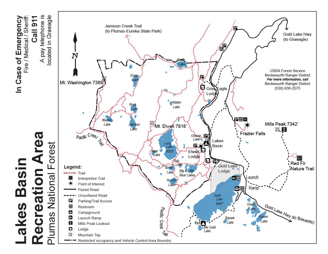 Lakes Basin Recreation Area Trail Map BlairsdenGraeagle