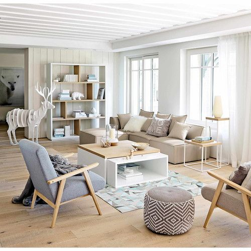 Pouf en coton gris/blanc Salons, Living rooms and Room