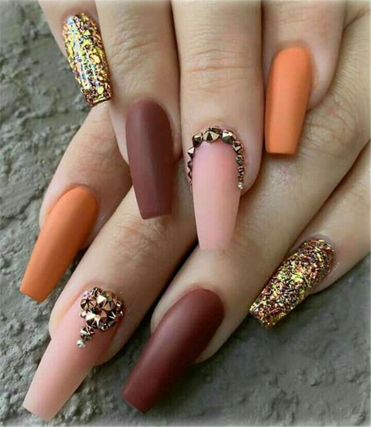 32 Stunning And Trendy Matte Coffin Nails Design Fall Acrylic Nails Coffin Nails Designs Nail Designs