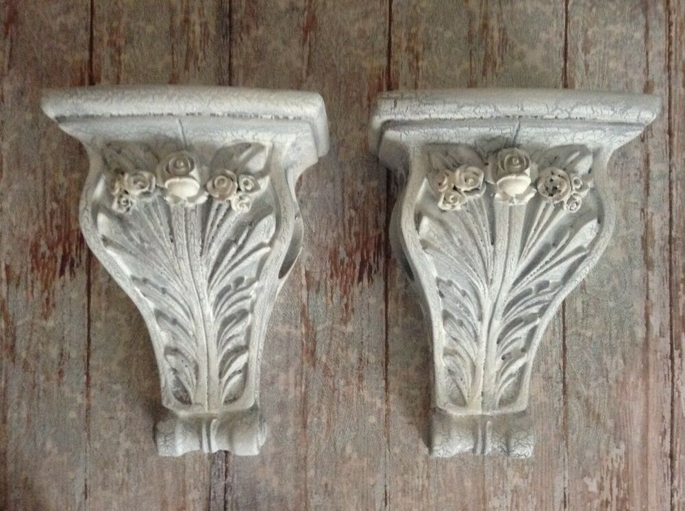 Details About Shabby Farmhouse Curtain Rod Sconces With Roses