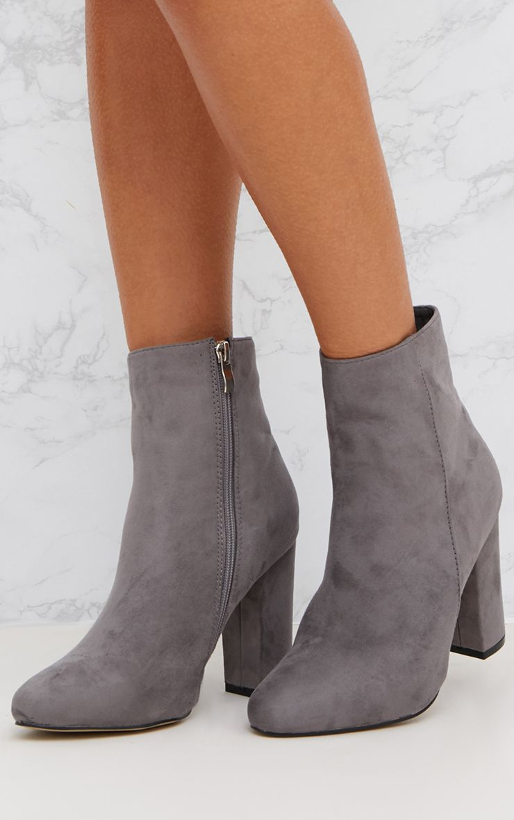 Grey Behati Faux Suede Ankle Boots in