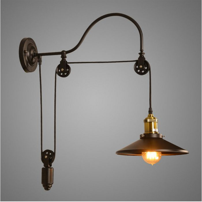 Vintage Iron RH Loft Industrial LED American Country Pulley Wall ...