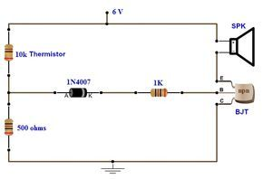 simple fire alarm circuit using thermistor, germanium diode and Thermistor Control Circuit simple fire alarm circuits using germanium diode and lm341 at low cost
