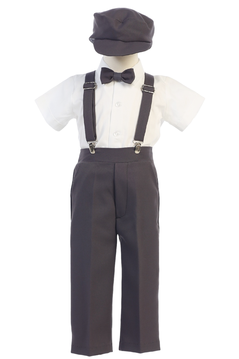 1e538ee8c Charcoal Grey Suspender Pants & Dress Shirt 5 Pc Outfit with Cap (Baby 6  months to Boys Size 7)