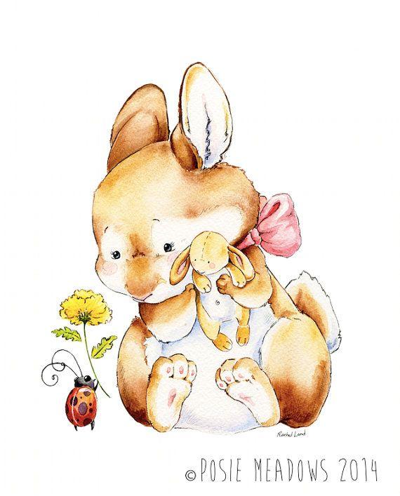 Baby Bunny Art, Baby Rabbit Art, Ladybug Art, Ladybird Art, Stuffed ...
