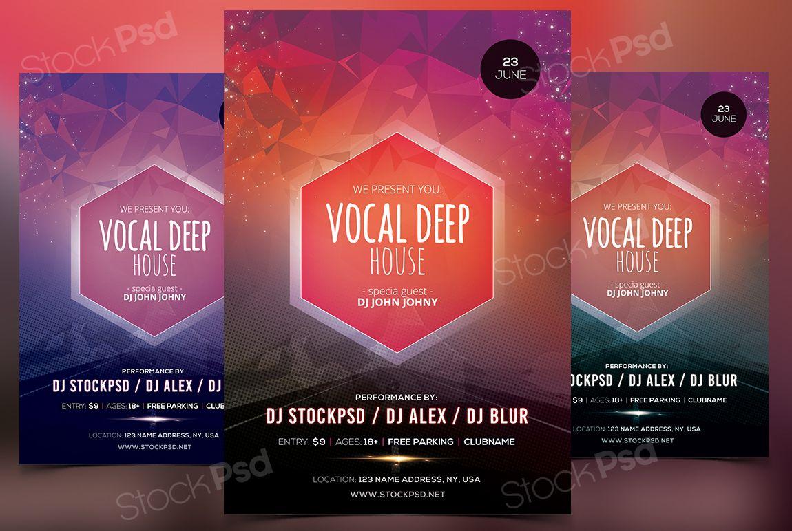 Vocal Deep House – FREE PSD Flyer Template | Vocal Deep