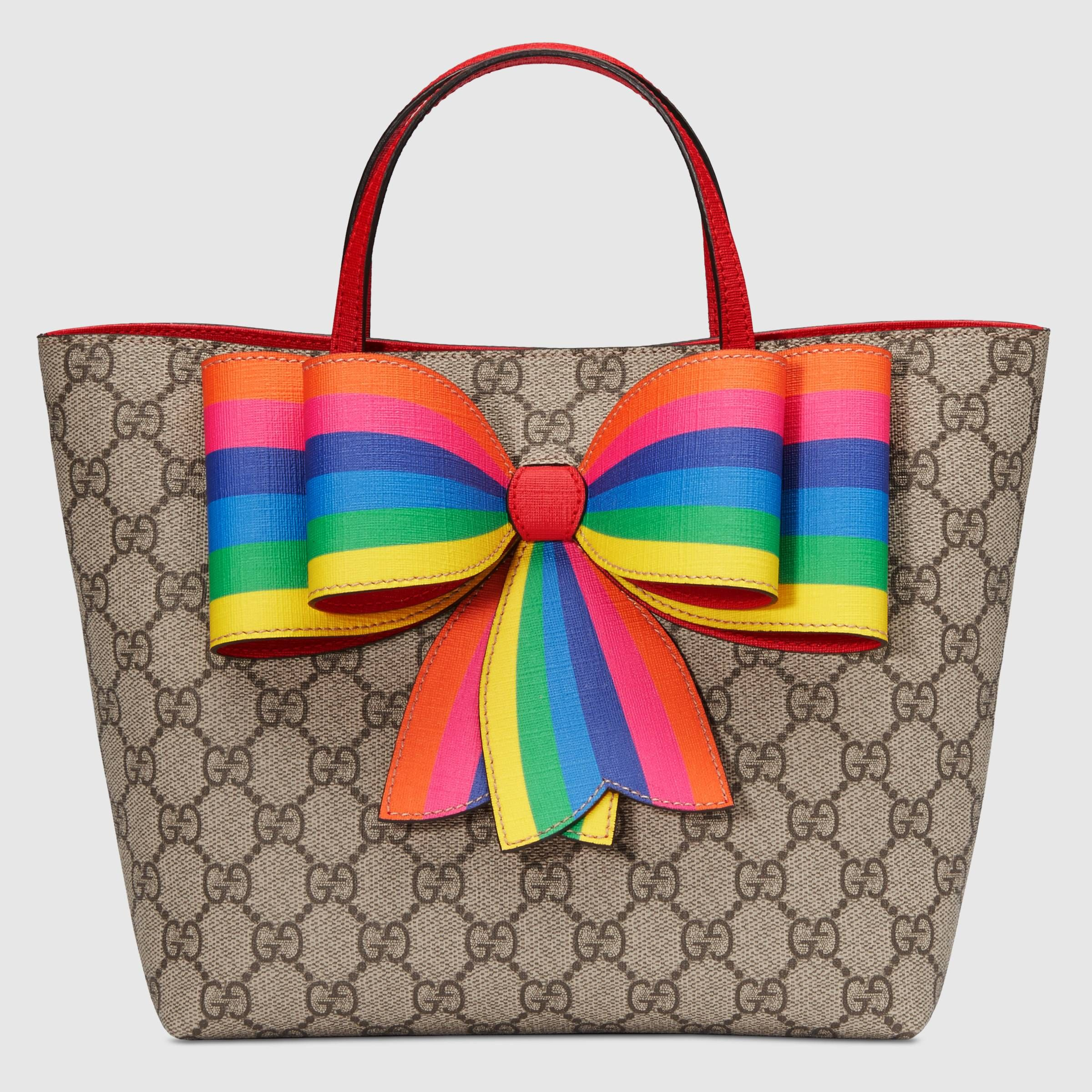 Children s GG Supreme rainbow bow tote - Gucci Gifts for Children  5018049I6ON8690 5744a14eeac9c