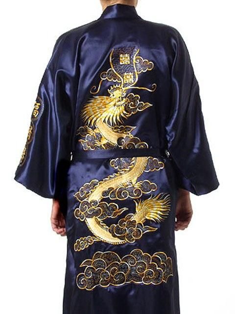 c5bca0a5f9 Navy Blue Chinese Men Silk Satin Robe Novelty Traditional Embroidery Dragon  Kimono Yukata Bath Gown Size S M L XL XXL MR002