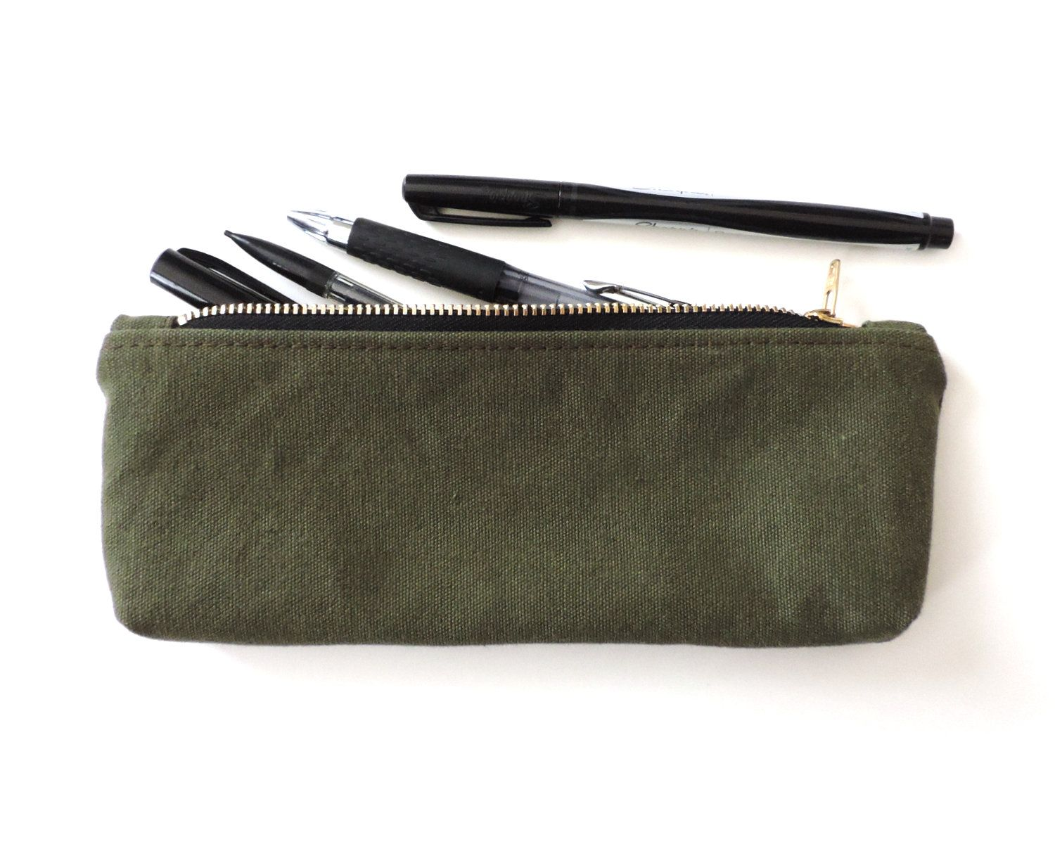 Military Canvas Pencil Case Zipper Pencil Pouch Recycled Eco Friendly Made In Usa Handmade By Lindock Pencil Case Pouch Canvas Pencil Case Pencil Case