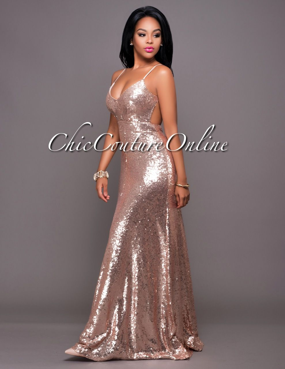 Chic couture online amor rose gold sequins open back gown