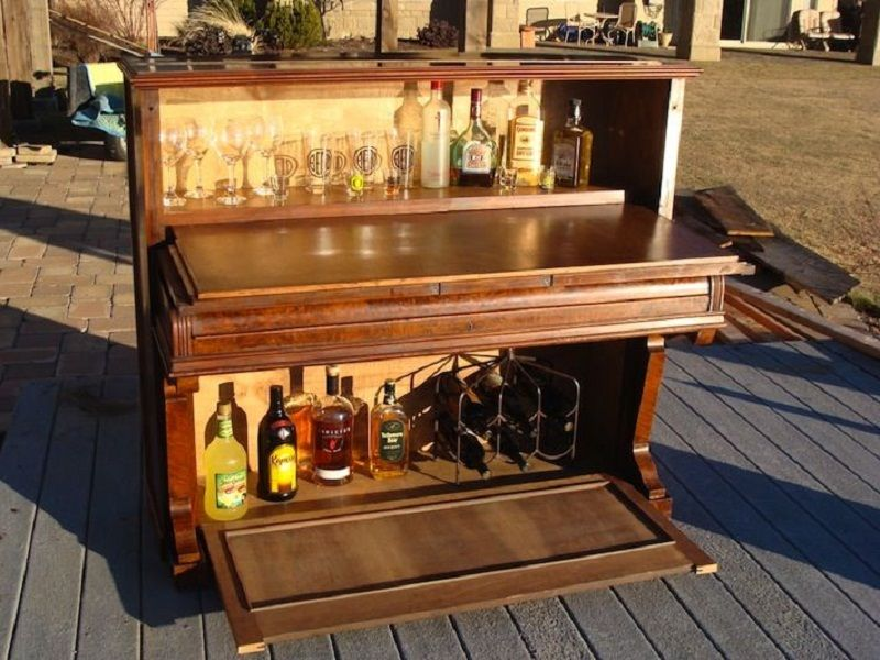 DIY Ideas From AllHome Old Piano Turned Into Mini Bar