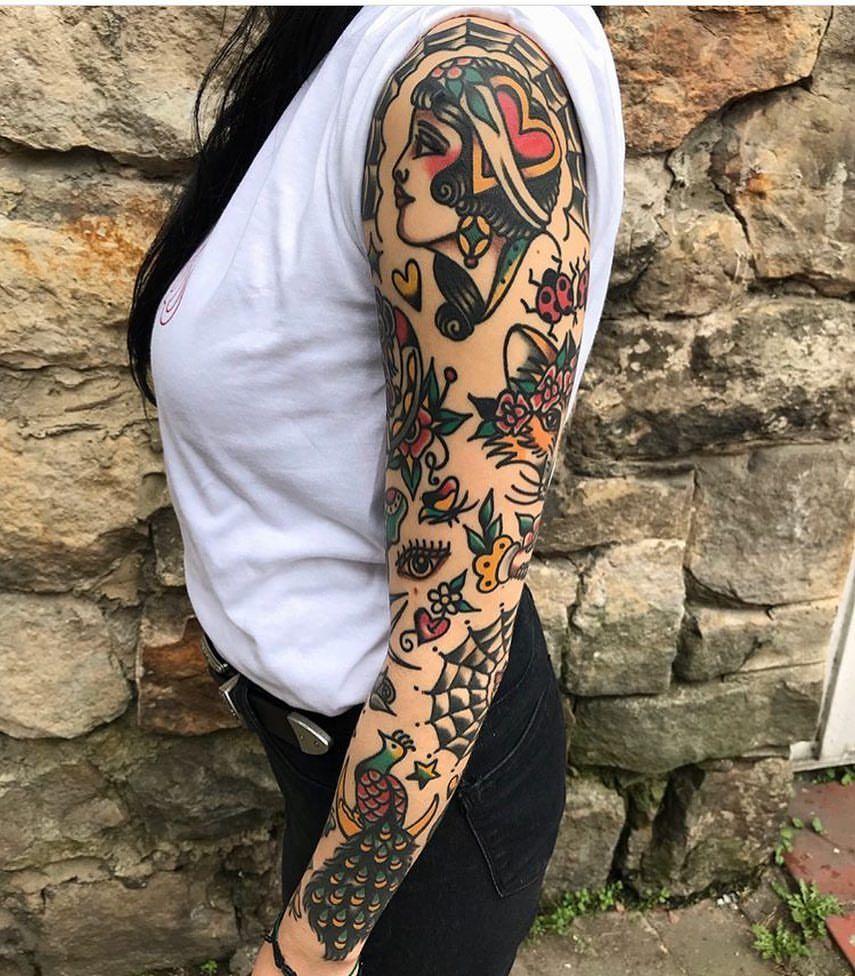 Xkristiangonzalezx Traditional Tattoo Sleeve Tattoo