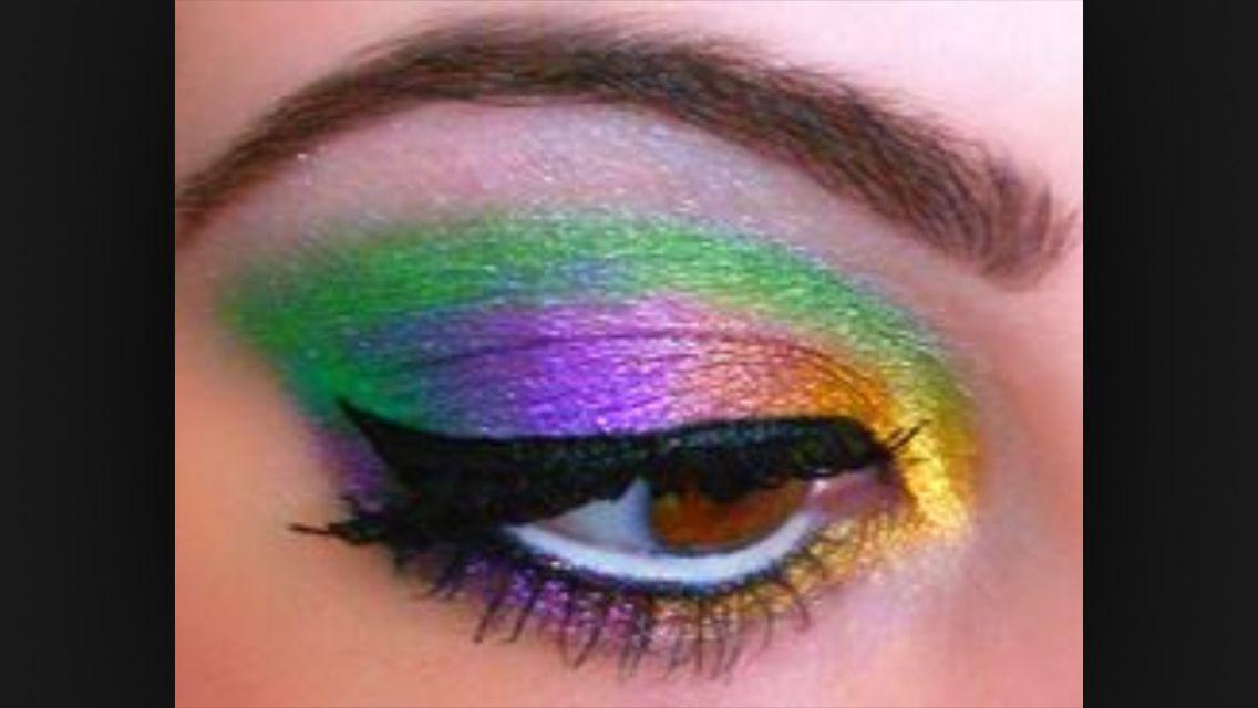 Mardi Gras Eye Makeup Green Purple Yellow Eye Shadow Mardi