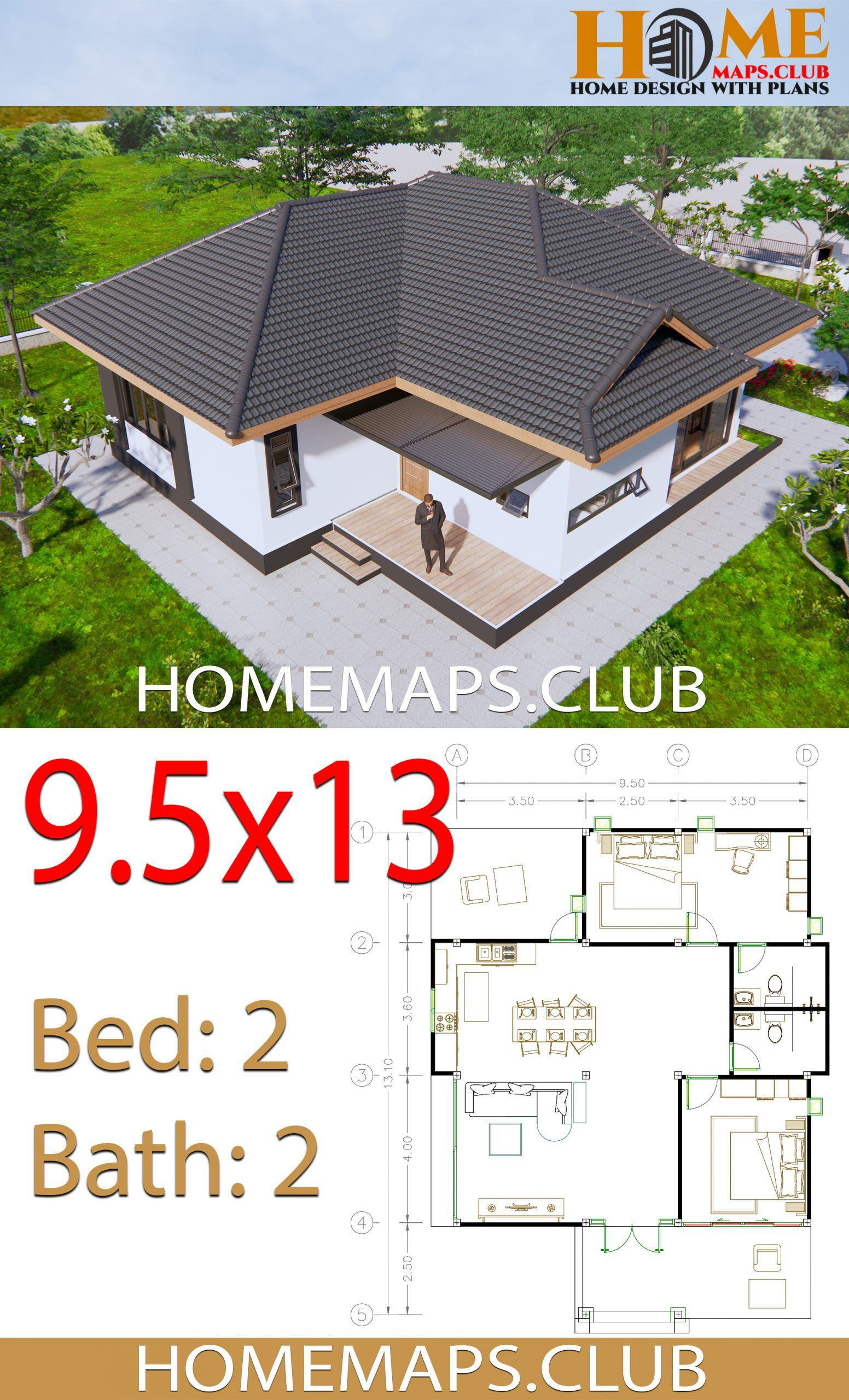 House Plans 9x13 5 With 2 Bedrooms Hip Roof Hip Roof House Plans House Roof