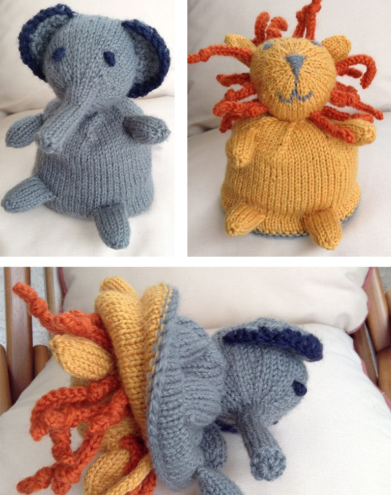 Knitting Pattern for Elephant Lion Flip Toy | Knitting ...