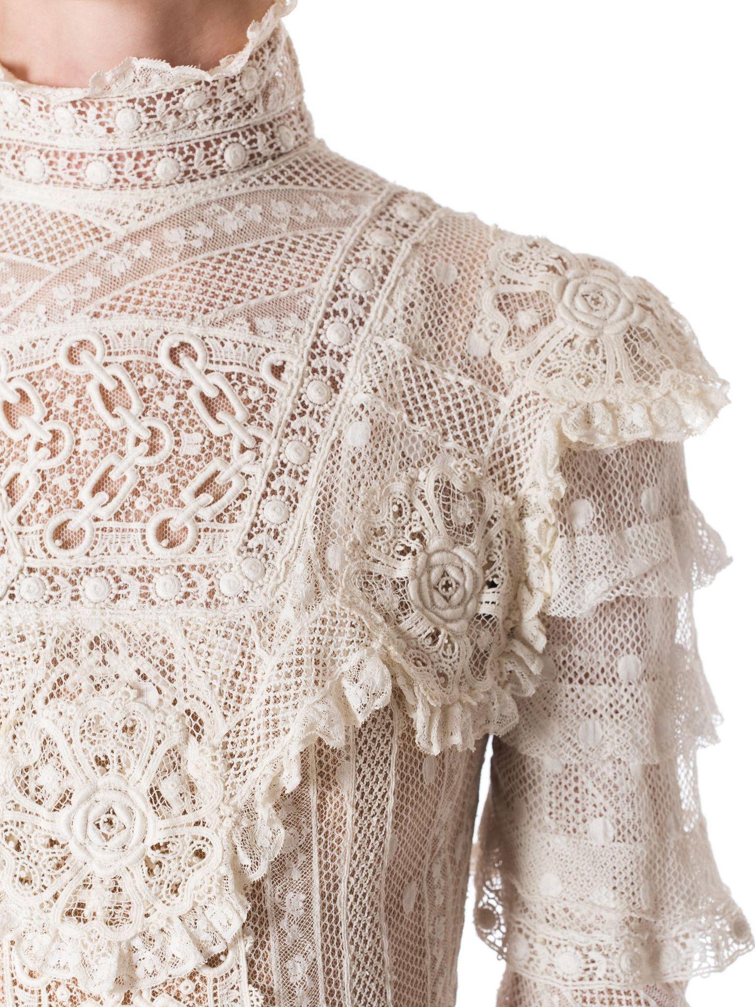 Vintage Victorian Edwardian cream cotton /& crochet lace high neck blouse