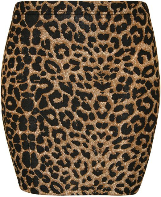 XCLUSIVE COLLECTION - BODYCON - JERSEY STRETCH - PRINTED - MINI SKIRT -- LEOPARD / BROWN