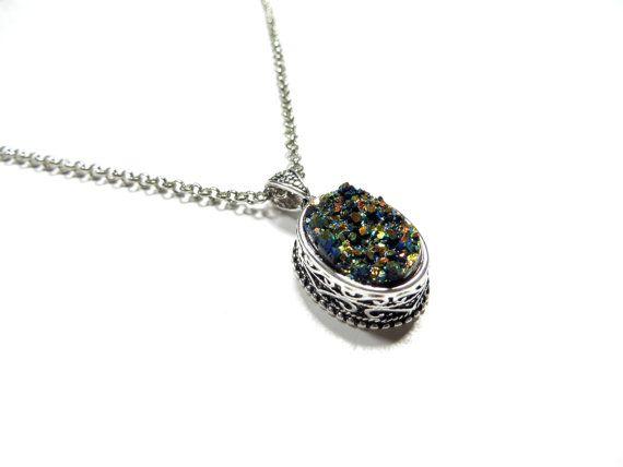Bohemian Druzy Necklace Yoga Jewelry Titanium Quartz  Resin Druzy Necklace Antique Silver ... $28.90