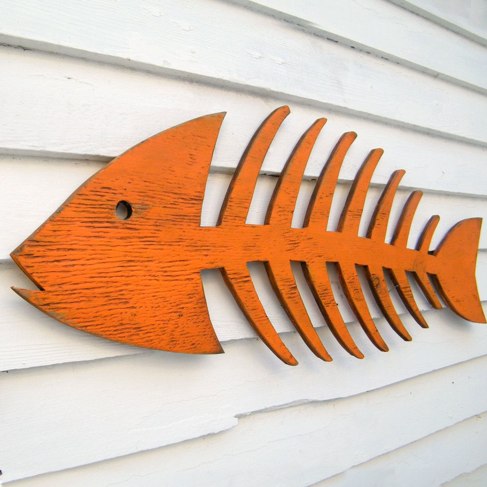 Wooden Fish Wall Decor fish skeleton sign wooden fish art beach cottage fish decor