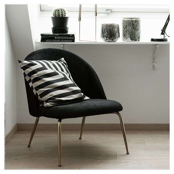 Photo of Heather Lounge Chair, Velvet Upholstered, Onyx Black