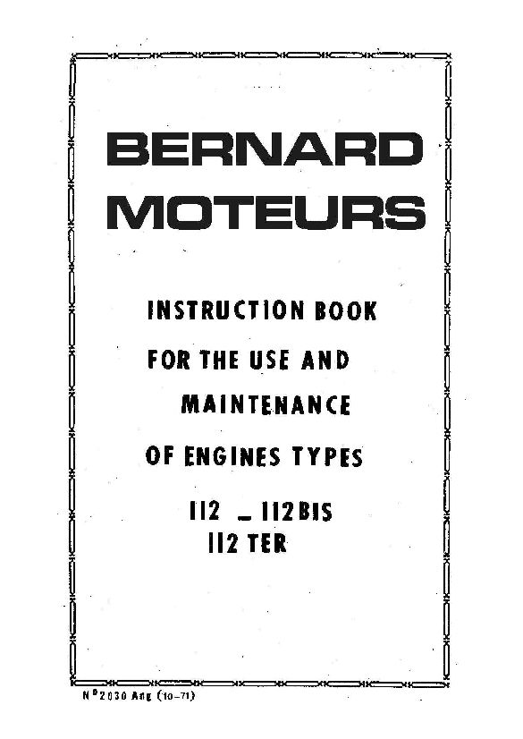 Motor Bernard Moteurs Tip B112 Workshop Repair Service