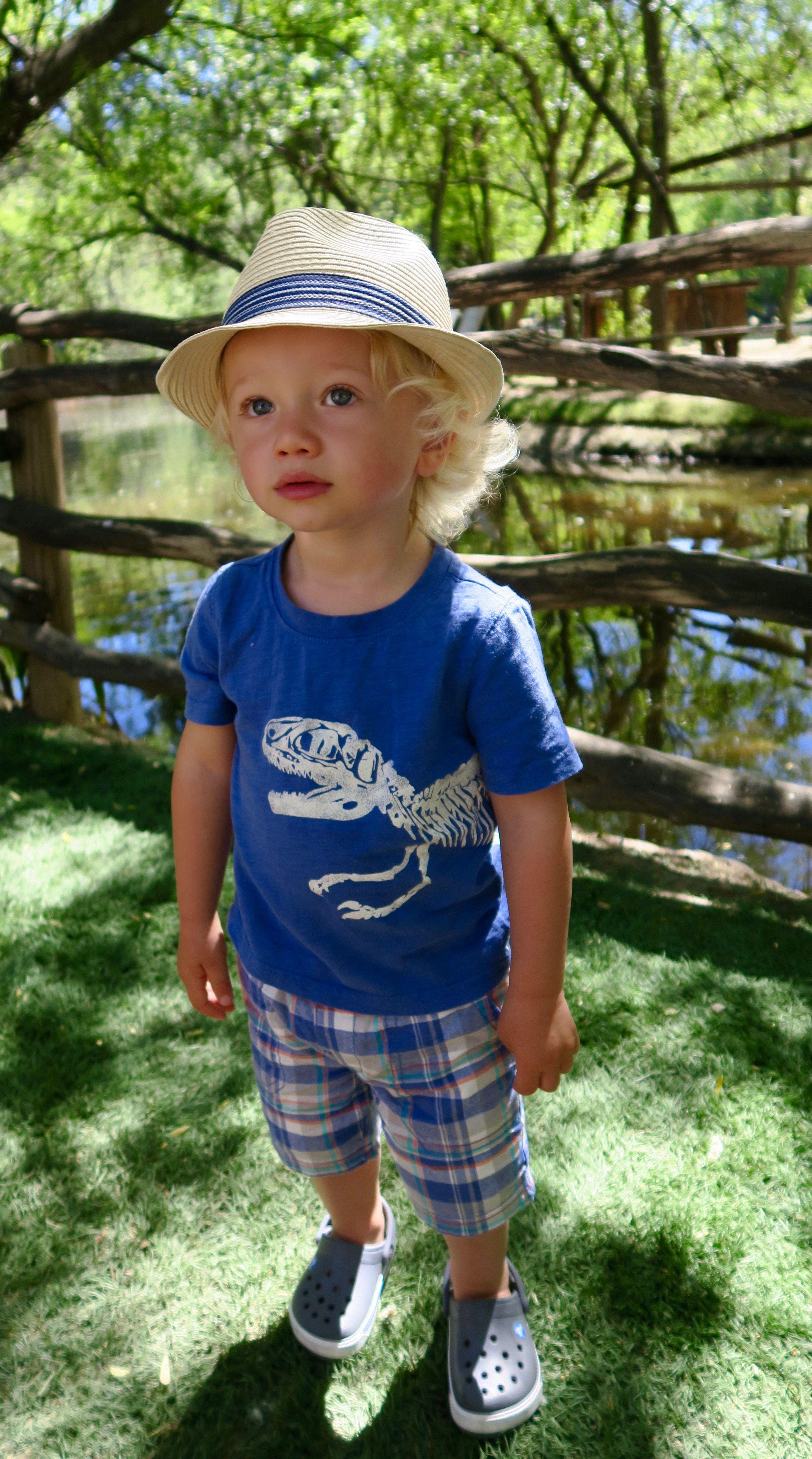 Toddler boy style, summertime, fedora, baby blues, blonde curls ...