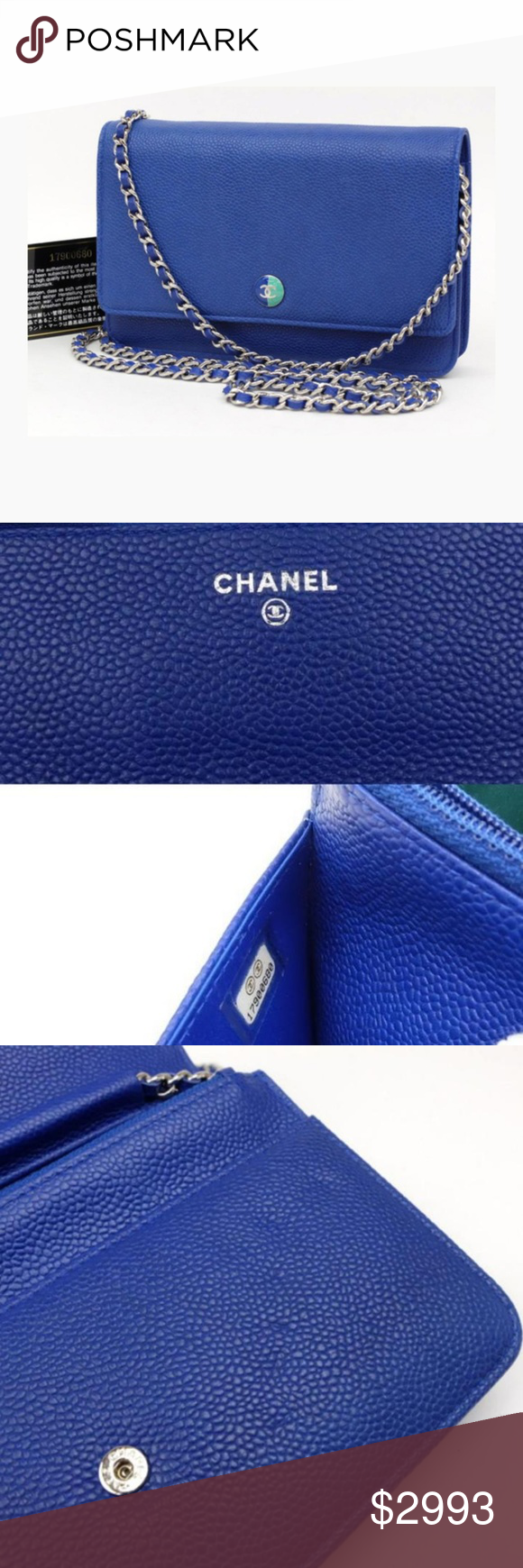 632d2506a2e5 Blue Caviar Leather Wallet on Chain Flap Bag Date Code/Serial Number:  17900680 Made In: Italy Measurements: Length: 7.5