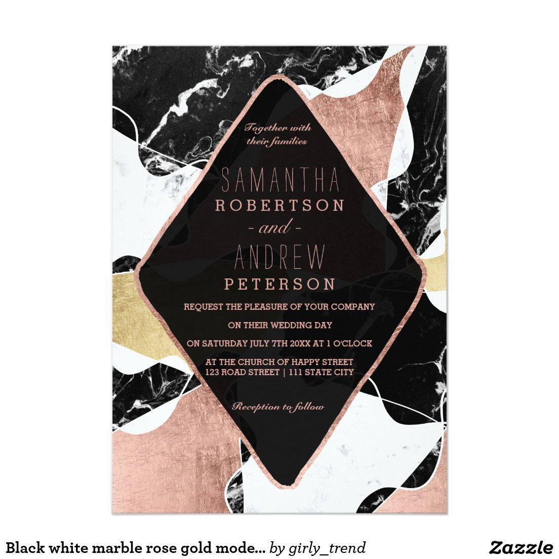 Black white marble rose gold modern chic wedding invitation | Zazzle.com |  Invitaciones de boda, Cajas de boda, Invitaciones