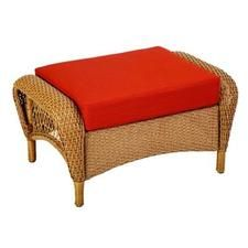 Martha Stewart Living Charlottetown Natural All Weather Wicker Patio Ottoman  With Quarry Red Cushion