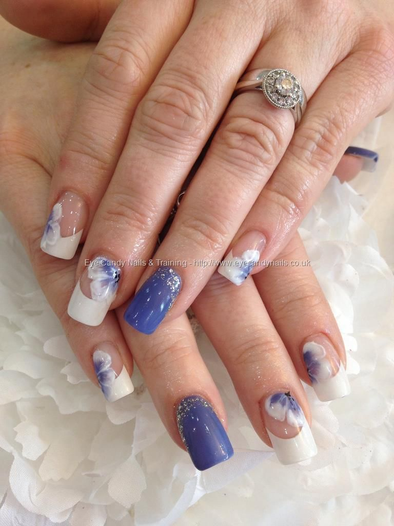 Cornflower gel polish 10 and white gel one stroke nail art over acrylic nails