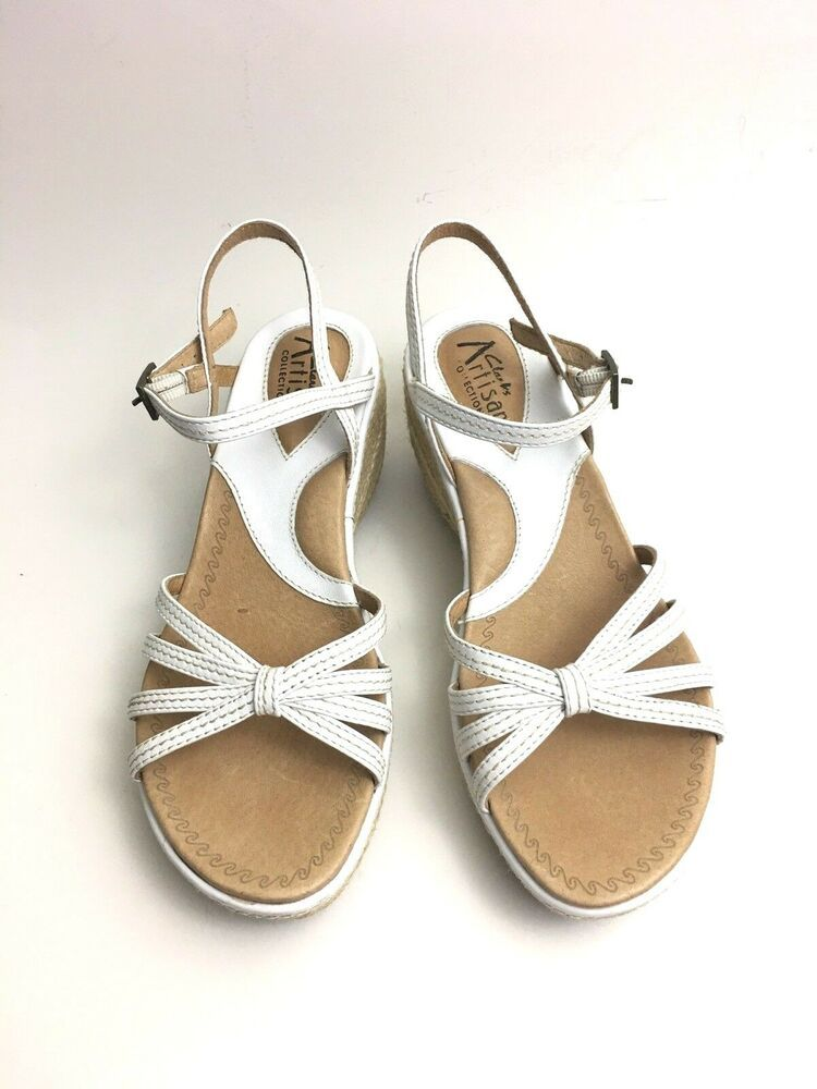 ca87681c14f Clarks Artisan Sandals Size 6M White Leather Espadrilles Wedge Heels ...