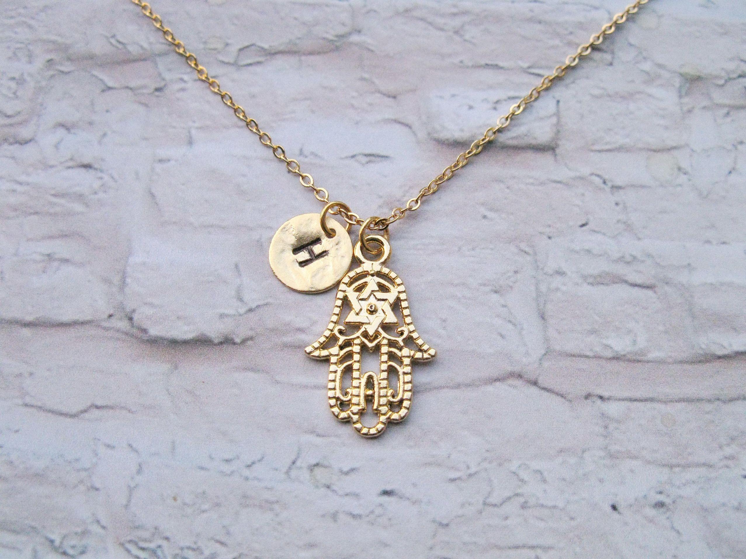 Hamsa initial necklace gold hamsa necklace gold plated hamsa hamsa initial necklace gold hamsa necklace gold plated hamsa hand stamped disc buycottarizona Gallery