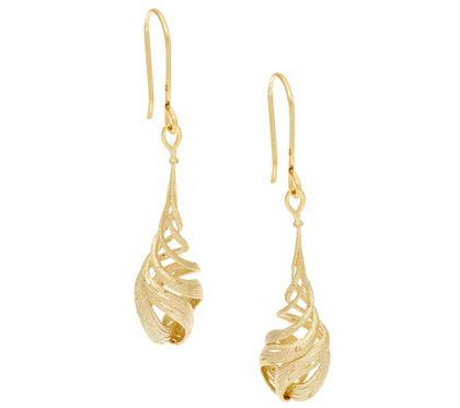 Eternagold Textured Spiral Dangle Earrings 14k Gold J293467 Qvc